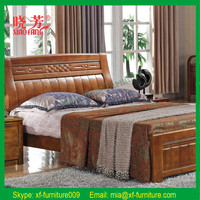 Newest hot selling teak wood double bed designs (XFW-618)