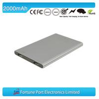 slim mobile 2000 mah portable power bank China supplier
