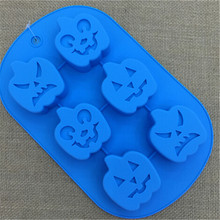 6 Funny Faces Halloween Pumpkin Silicone Easter Egg Cake Mold For Microwave Cake