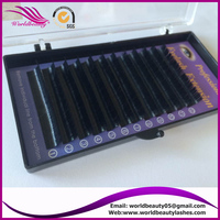 synthetic faux mink individual eyelash extensions high quality PBT fiber custom package wholesale silk eye lashes