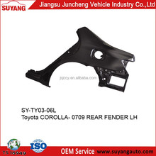 Suyang good selling metal parts rear fender replaced for toyota corolla 07-12
