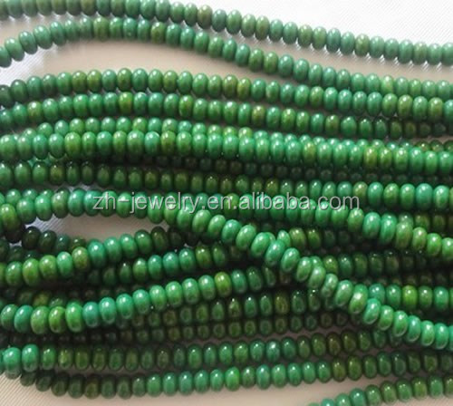 Apple-green color Turquoise Rondel beads strings