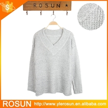 Women's V- Neck Loose Fit Sequin Knit Sweater