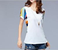 fashion dress ladies dress material wholesalers in mumbai 100% cotton heather grey printing woman t shirt O neck