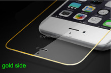 Mobile phone tempered glass screen protective film for Iphone 6 with gold side full cover