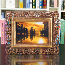 foldable scenery photo frame gold high end luxury resin puzzle picture frame moulding 4 x 6 inch for memory recording 0.45kg