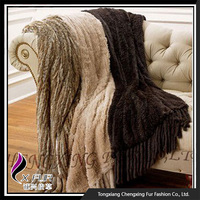 CX-D-20 Warm Fashion Warm Knitted Rabbit Fur Throw Trim Blankets For Winter