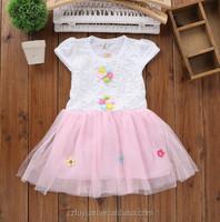 2015 princess girl summer short sleeves lace shinning dress clothings