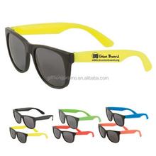 Hot sale custom logo promotional neon wayfarer sunglasses