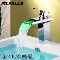 China supplier led waterfall square basin faucet,brass chrome basin faucet,bathroom basin faucet
