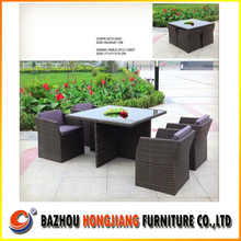 2015 New Design Outdoor Wicker Patio Rattan Dining Coffee Square Table Chairs Set