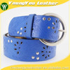 Women's porpular studded 40Mm belt leather with embossed flower painting shiny buckle