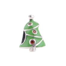 S364 Green Enamel Mery Christmas Celebration Design 925 Sterling Silver Beads Charm