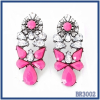 Factory direct top selling fashion artificial jewelry rose red resin stone bling crystal pendant women earrings