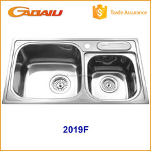 2019F SUS 304 Fashion Trendy Designs Tensile Kitchen Sinks Stainless Steel, Cheap Custom Double Bowl Kitchen Sink For Wholesale