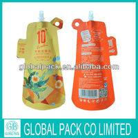 aluminun foil plastic bags for water packaging with spout