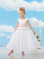 Cute Ball Gown Princess Pageant Dress for Party Child Cap Sleeves Organza Flower Dress kids white ball gown dresses FXL-250