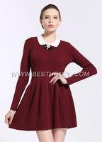Ladies' cotton cashmere princess dress doll collar dress sweater