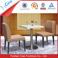 Compact laminate table Stainless Steel restaurant dining tables and chairs