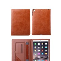 Top quality crystal pattern genuine leather for ipad air 2 case with belt clip