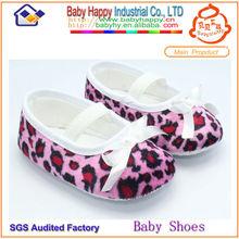Venta caliente de color rosa bebé zapatos de leopardo de impresión zapatos de vestir para bebés