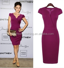 OL wind sexy v-neck dress with short sleeves beautiful charming dresses
