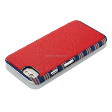 NCVM leather mobile phone case for Iphone with matalic frame, water transfer pattern