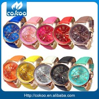 New Fashion Round 2 zones ladies cheap geneva leather watch women,geneva leather band watch hot sale
