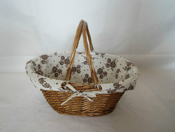 2015 best seller storage basket weaved with half willow, honey color,with handle and flower lining