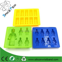 3pcs/set 100% Foodgrade Silicone Lego Mold Lego Cake Ice Mold Color Yellow+green+blue