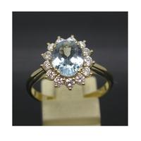 Certified 2.34ct 18k Yellow Gold Aquamarine Diamond Engagement Rings