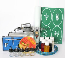 Temporary Airbrush Tattoo Kit For Body Painting Art Mini Compressor with Professional Airbrush Spray Gun