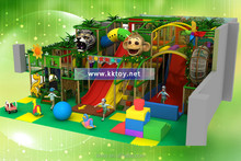 Indoor playground with plastic slides ,trampoline and ball pools