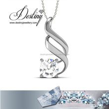 925 Silver wavy-shape necklace pendant Made with Swarovski Zirconia
