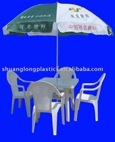 plastic dinner chair and outdoor round table