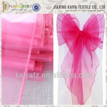 Fancy pink organza wedding chair sash crystal sash