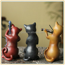 American rural household wedding adornment polyresin cat with musical instrument figurine wholesale