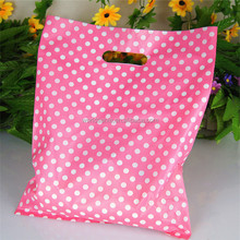 Pink bag with white spot special designed die cut plastic punch hole bag