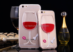2015 Fashion liquid phone case for iphone 6,for iphone 6 liquid back case with red wine