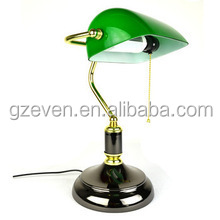 Alibaba provide copper table lamp desk light green glass cover vintage bankers desk lamp made in china