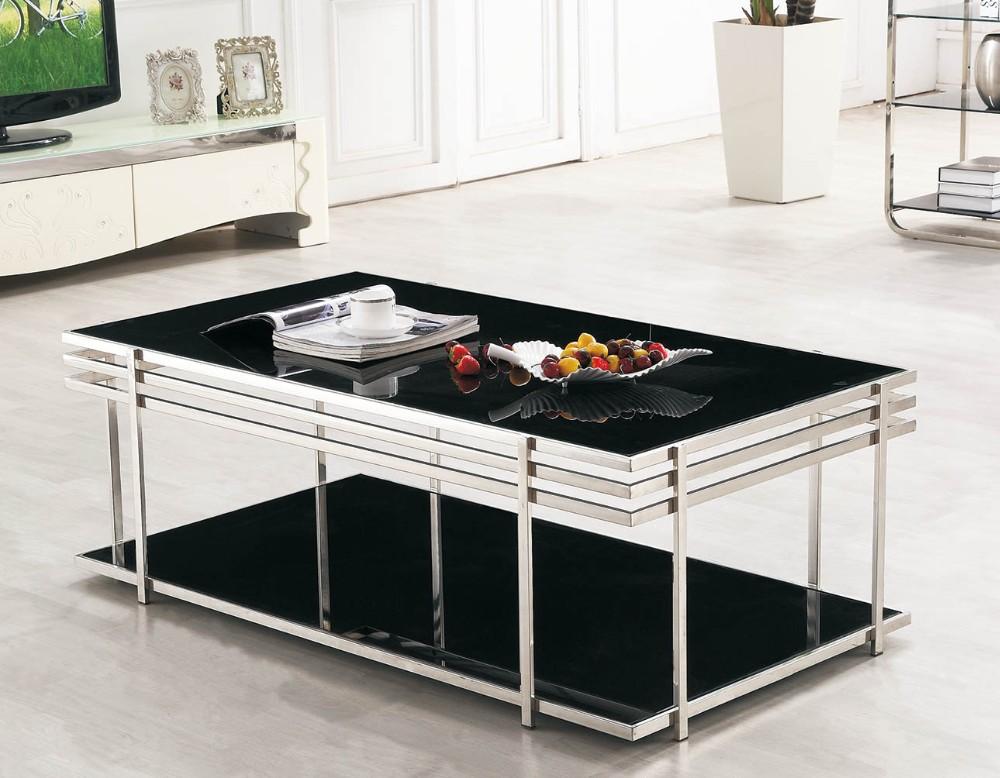 현대 강화 유리 센터 테이블 스테인레스 스틸 티 테이블 디자인 ...