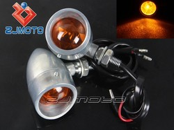 Polish with Amber Lens Turn Signals Aluminum Amber Bulb Flashing Light Universal Functional Fit Custom Motorcycle Chopper Bobber