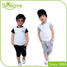 Factory wholesale stylish children t shirt sets short sleeve 2 piece cotton baby boy summer suits