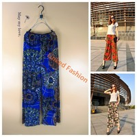 Custom Print Women Palazzo Pants/Ladies Wide Leg Palazzo Pants Wholesale