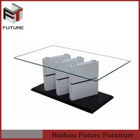 Living room furniture glass top and MDF frame centre coffee table