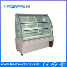 cake display showcase, cake refrigerator, cake chiller curved glass freezer etl