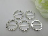 wholesale decorative wedding invitation round shape rhinestone buckle