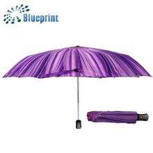 la parte superior famosa promoción de girasol completo de impresión y 3 auto paraguas plegable