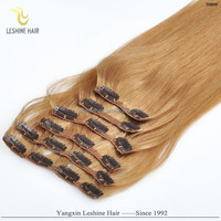 Hot Selling Best Supplier Top Quality No Shedding No Tangle Remy Human Hair extensions blond clip on hair