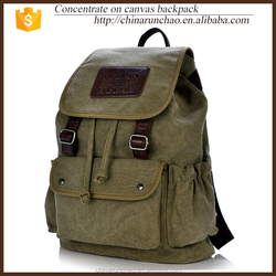 soft army green canvas for teens school drawstring closure fashion backpack bag with laptop computer compartment